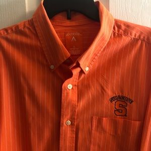 Antigua Orange Stripe Long Sleeve Shirt Syracuse